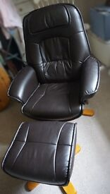 Leather Chocolate Recliner Armchair Gaming Chair & Stool