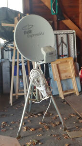 Bell Satellite dish on stand with cable
