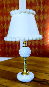 Vintage Milk Glass Hobnail Table Dresser Boudoir Lamp Midcentury