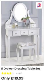 White 5 drawer dressing table