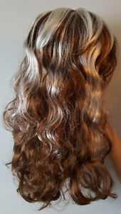 Light Brown Wavy Curly Long Hair Wig with White Streaks (1) St. John's Newfoundland image 2