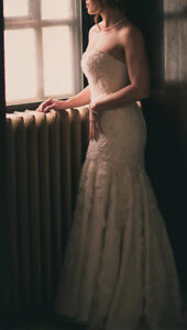Gorgeous Champagne Oleg Cassini Wedding Dress