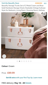 Storage trunks set cream metal used but immaculate condition
