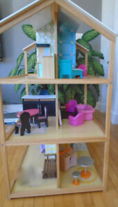 Barbie Dollhouse Wooden House with Furniture