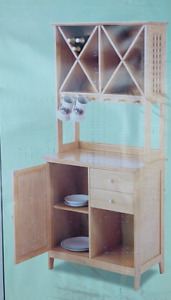 Table and Chairs with Side Server Wine Rack