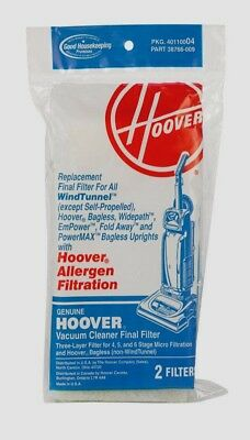 2 HOOVER Allergen Replacement Final Filters WindTunnel Vacuum 40110004 -