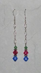 Green, Pink & Blue Swarovski Crystal Earrings