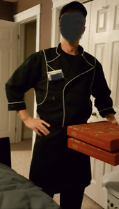 Boston Pizza uniform costume. Blazer, pants, apron, hat