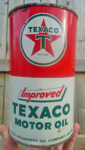 RARE 1950's VINTAGE TEXACO IMPROVED MOTOR OIL IMPERIAL QUART CAN