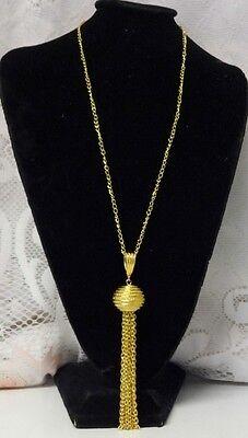 Vintage Retro 50-60's Gold Tone Chain Tassel Fringe Pendant Fashion Necklace