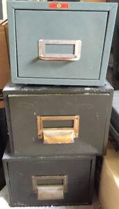 Vintage metal filing card cabinets