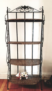 Wrought Iron and Wicker Shelf
