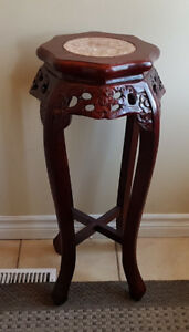 MAHOGANY FERN STAND WITH MARBLE TOP