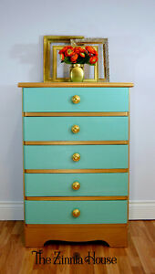 Romantic Turquoise and Gold Dresser