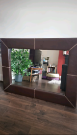 Large 4ft by 3ft mirror with Leather frame (great condition)