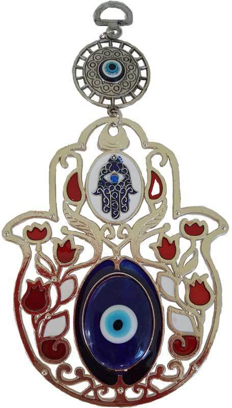 """Small Hamsa Hand of Fatima with Red Flowers & Evil Eyes Design 8"""" Wall Hanging"""