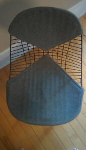 (6) Eames-style Wire Chairs with grey fabric padding