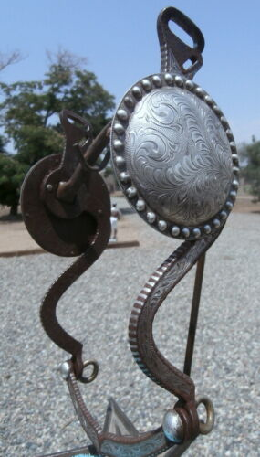 Huge 3-5/8 in. Concho Sterling Silver Inlaid Sweet Iron Horse Show Bit