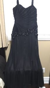 Black Gown with Flower Detail