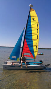 Hobie Getaway catamaran w. wings and trapeze lines