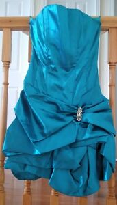 teal graduation or prom cocktail prom dress