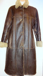 MINT Womens LONG 100% SHEEPSKIN SHEARLING COAT Via Firenze 12