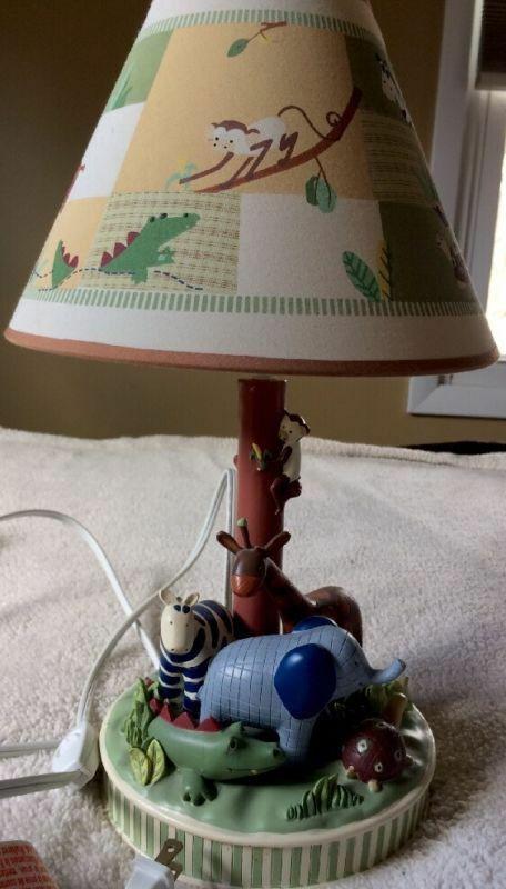 "KIDSLINE Zanzibar JUNGLE ANIMALS Kids Room Nursery TABLE LAMP & LAMPSHADE 16"""
