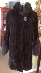 Shaved Beaver black long  fur coat