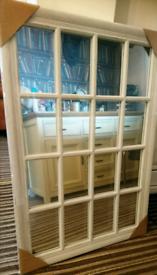Brand new vintage white wooden window mirror