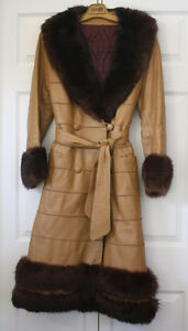 Women's Full Length Leather and Beaver Fur Coat Size Large London Ontario image 1