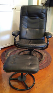 Black leather swivel recliner | matching stool | excellent shape
