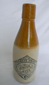 ANTIQUE GINGER BEER BOTTLE JUG FRANCIS DRAKE NOVA SCOTIA