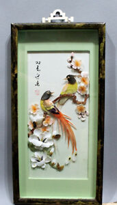 Chinese cut shell birds, flowers shadowbox signed art