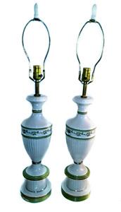 Vintage wedgewood style elegant gold trim lamps