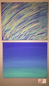 Art by Alyssa | Shades of blue paintings (set of 2)
