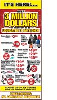 Giant Liquidation Sale on now at EY Centre.