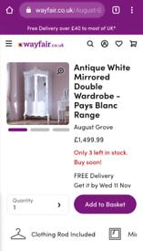 French antique white mirrored double wardrobe