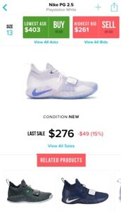 7a636f2327c NIKE PG2.5 PLAYSTATION - SIZE 13 - WHITE MULTICOLOUR