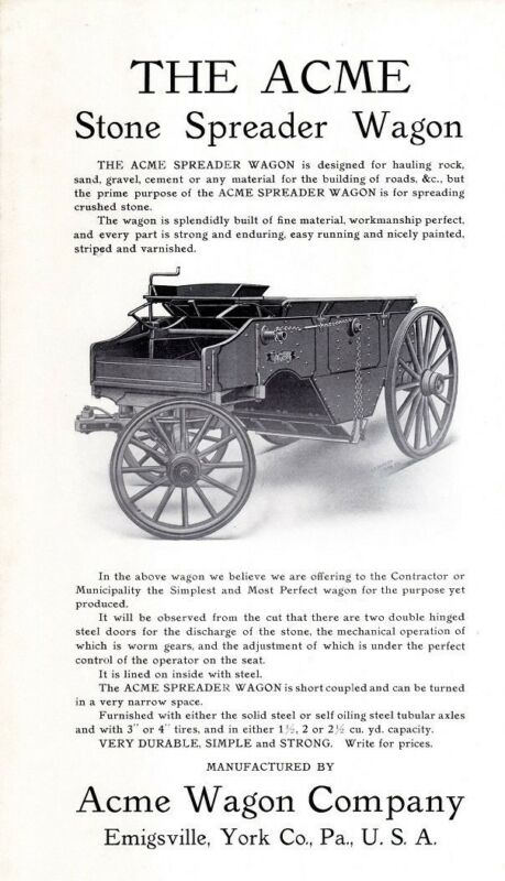 Very Early ACME Stone Spreader Wagon Sales Flyer - Emigsville PA