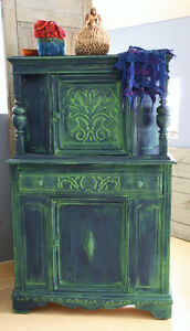 ANTIQUE DISPLAY CABINET, REFINISHED, HAND PAINTED, SANTA FE