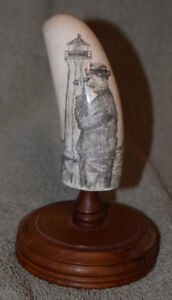 SCRIMSHAW ON OLD WHALE TOOTH 'LIGHTKEEPER' NAUTICAL