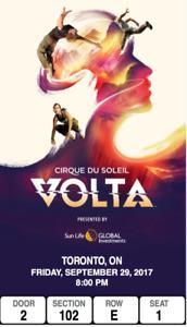 FRI. SEPT29 - 8PM Show - Cirque Du Soleil VOLTA - PREMIUM PLUS