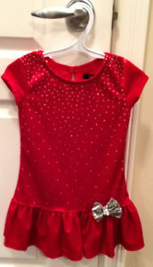 Christmas Red & Silver Girl Velour Top with Sparkles