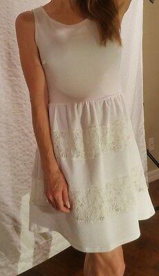 City Studio Party Casual Sleeveless Back Zipper White Mid Length Dress Size 9