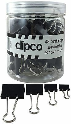 Clipco Binder Clips Jar Assorted Sizes Micro Mini Small And Medium 48-pack