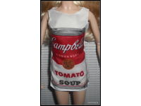 DRESS ONLY  MATTEL BARBIE DOLL ANDY WARHOL CAMPBELL/'S SOUP MOD STYLE MINI