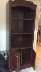 Gorgeous red wood narrow display/book case, great condition.