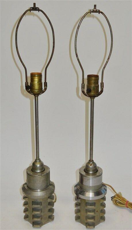 Pair of Vintage Antique Steampunk Industrial Hobbing Gear Lamps