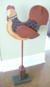 FOLK ART - HAND PAINTED ROOSTER WITH MOVING WINGS