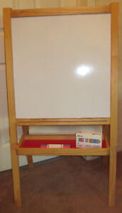 Folding Two Sided Dry Erase White Board and Chalk Board Easel